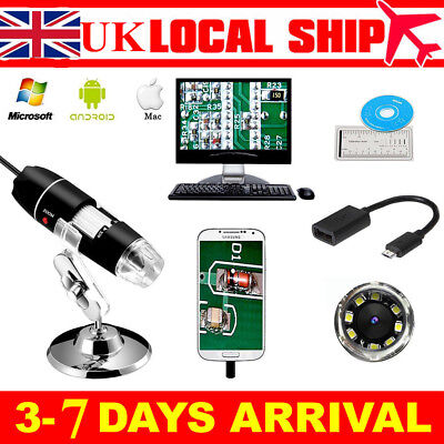 1600X/1000X Zoom 8 LED USB Microscope Digital Magnifier Endoscope Video w/Stand