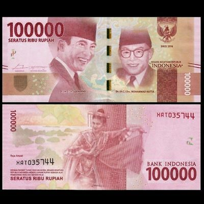 ONE MILLION INDONESIAN RUPIAH (IDR) CURRENCY - *100,000 X 10 = 1,000,000 Rupiah