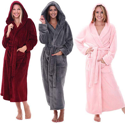 Ladies Women's Coral Fleece Bath Robe Dressing Gown Soft Long Hooded Home Coat
