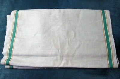 Antique Oatmeal Linen Toweling Fabric Green & Yellow Striping 6 Yards Never Used