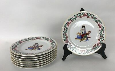 """Set of 8 1992 Vintage BLOCK SPAL  8"""" Salad Plates Whimsy Christmas Toy Soldier"""