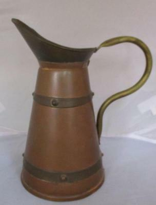 "Vtg Arts & Crafts Era Copper and Brass Tall Pitcher 9"" Primitive Handmade"