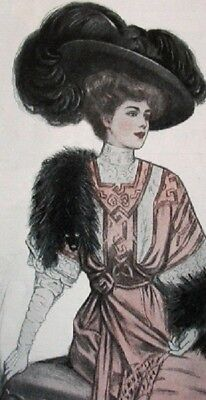 1907 Edwardian Fashion Magazine ~ FASHION ISSUE Paris Gowns Hats Hairstyles LHJ