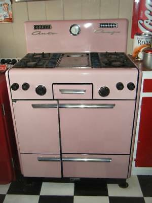Fabulous Rare Pink 1940-50s Auto Chef Gas Stove-WORKS Antique