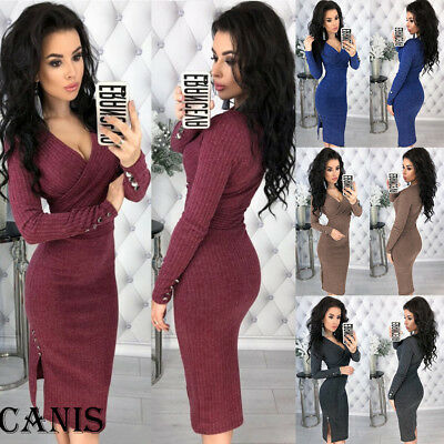 Fashion Women Winter Knitted Sweater Bodycon Deep V Neck Long Pencil Party Dress