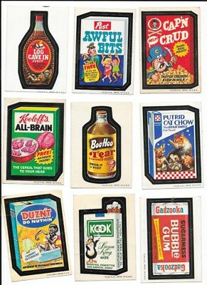 9 Wacky Packages Series 1 & 2 Stickers 1973 White Backs Topps