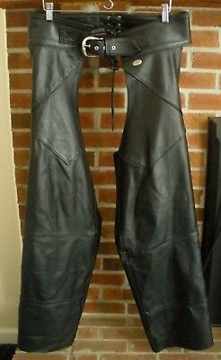 Harley Davidson HD Womens Leather Motorcycle Chaps sz L 98480-97VM Made USA Blck