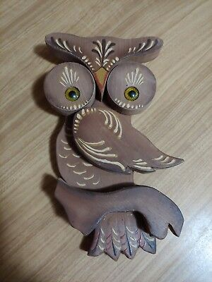 VINTAGE Wooden Owl Wall Hanging
