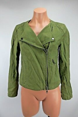 Madewell Army Green stitched Zip Moto Crop Jacket Size Small riding Casual