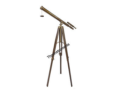 Vintage Solid Brass Nautical Port Marine Navy Telescope Double Barrel Antique