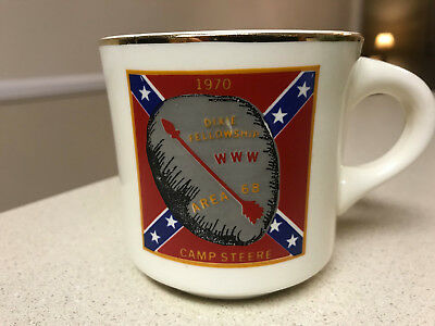 RARE Boy Scout BSA Dixie Fellowship WWW AREA 68 1970 Camp Steere Coffee Mug Cup
