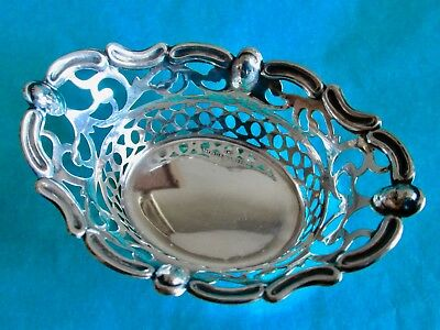 Sterling Silver Reticulated Nut Dish Antique Hallmarked