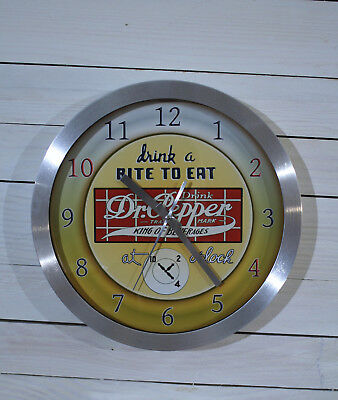 Early Logo Dr Pepper Cola Wall Clock Large 12 inch Non Ticking Sweep Hand Glass