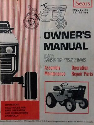 Sears Suburban 10/6 Garden Tractor & Snow Thrower Owner & Parts (2 Manuals) 54pg