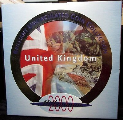 2000 GREAT BRITAIN UK - OFFICIAL BRITISH MINT SET (9) w/ RARE PUBLIC LIBRARY 50P