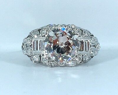 certified ANTIQUE 2.17 ct NATURAL DIAMOND engagement ring SOLID PLATINUM (Si1 G)