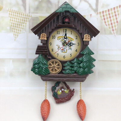 1pc Handcrafted Wood Cuckoo Clock House Tree Style Wall Clock Vintage Home Decor