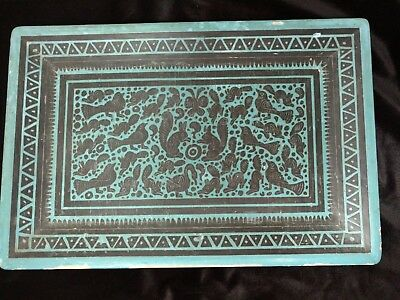ANTIQUE ASIAN JAPANESE TRAY HAND PAINTED Teal Blue Black Squirrels Birds Fish