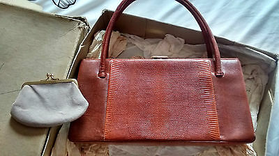 pristine tan lizard vintage 50s Waldybag & purse & mirror - still boxed -amazing