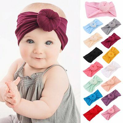 Newborn Baby Kids Girl Infant Tie Knot Headband Elastic Headwear Turban Headwrap