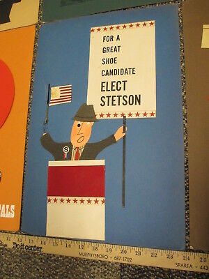 STETSON hat shoes 1960s store display sign (1) felt ad original art ELECTION