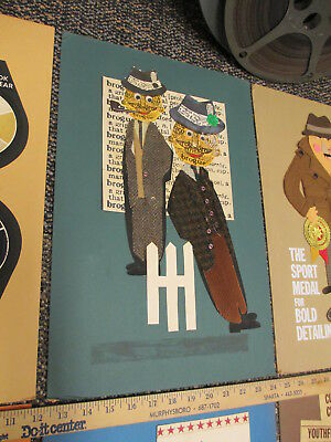 STETSON hat shoes 1960s store display sign (1) felt ad original art MEN FENCE