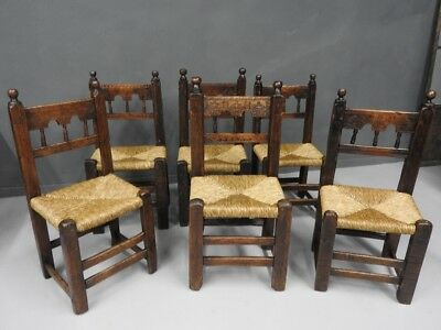 Group Of 6 Rustic Original Chairs Woven Dalle Valleys Of Piedmont