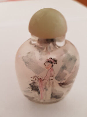 Genuine Chinese snuff bottle with inside hand paintings