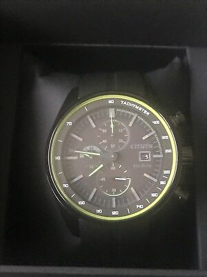 NEW Citizen Mens Black Stainless Steel Eco-Drive Chronograph Watch - CA0595-03E