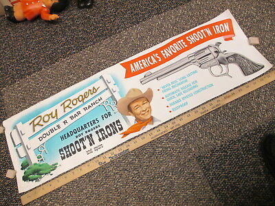 ROY ROGERS 1950s cowboy store display poster sign cap gun spurs headquarters