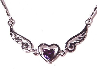 STERLING SILVER ANGEL HEART pendant wings love purple crystal pendant .925 E2