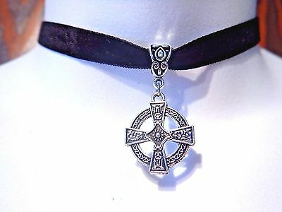 BLACK VELVET SILVER CELTIC CROSS CHOKER Christian crux gothic necklace new 1C