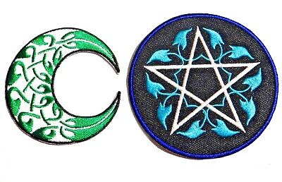 WICCAN IRON ON PATCH gothic pagan goddess witch Pentagram Celtic Knot moon 4I
