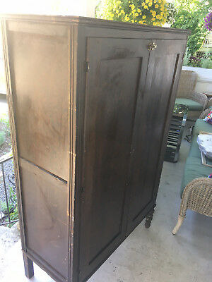 ANTIQUE WOOD ARMOIRE WARDROBE rod accross the top perfect hanger