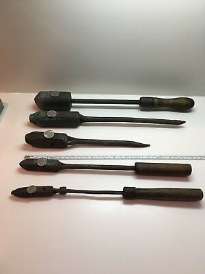 Lot of 5 Vintage Copper Headed Tips Soldering Irons