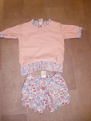 Baby Pink Floral Girls 2 Piece Swimsuit By Next Size 6-9 Months