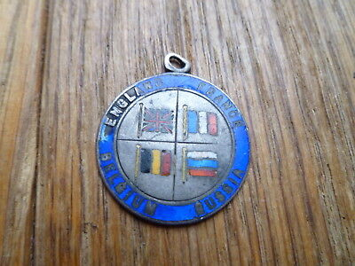 WWI SILVER ENAMEL FLAGS OF THE ALLIES MEDAL BRITAIN FRANCE BELGIUM & RUSSIA 22mm