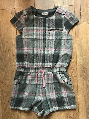 Girls Next Grey Pink Check Tartan Winter Playsuit Jumpsuit All In One age 10-11