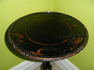 Antique Edwardian Black Laquer Japanned Wine or Lamp Table