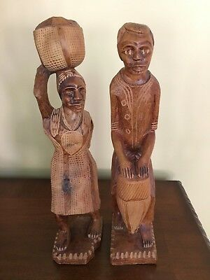 Pair African Tribal Hand Carved Wood Folk Art Statue Figures