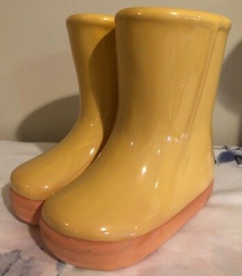 "Vintage Abbott Ceramic RAIN BOOTS Vase Yellow Gold 4 3/4"" Tall Kids Room Desk"