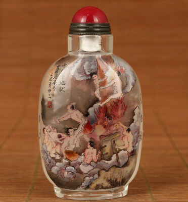 Rare Chinese old glass inside painting Eighteen layers of hell Snuff Bottle