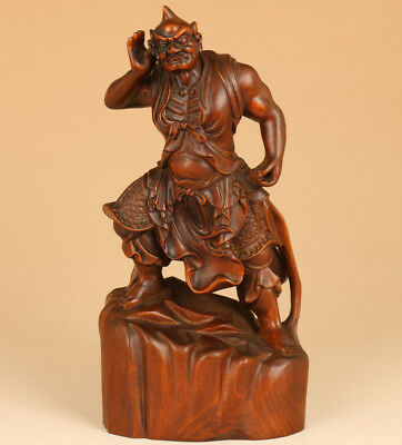 antique big Chinese Old Boxwood Hand Carved buddha clairaudience Statue netsuke