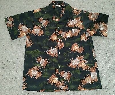 Genuine vintage Hawaiian shirt made in Hawaii palm trees n pineapples size M