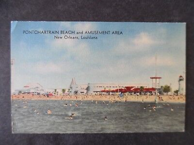ca1950 New Oreans Louisiana Pontchartrain Beach & Amusement Park Postcard