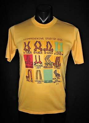 "True Vintage 70's 80's Yellow ""Study Of Legs"" Joke Funny Tee T Shirt size S-M"