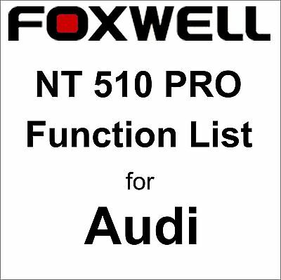 Function List for Audi Foxwell NT510 PRO OBD OBD2 scanner pdf-file