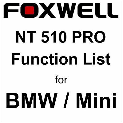 Function List for BMW Mini Foxwell NT510 PRO OBD OBD2 scanner pdf-file