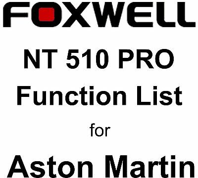 Function List for Aston Martin Foxwell NT510 PRO OBD OBD2 scanner pdf-file
