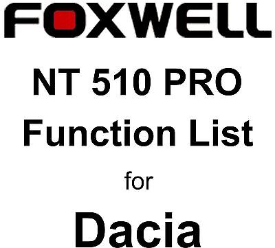 Function List for Dacia Foxwell NT510 PRO OBD OBD2 scanner pdf-file